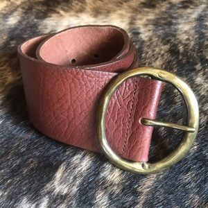 Wide Leather Belt in Rust/ Brown